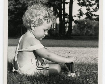 vintage photo 1940 Curly Hair Angel Baby Claude Plays w Pull toy in Grass