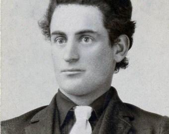 vintage photo 1899 Teenage Cone Head Hair Man Named Hamm Garing Scio Oregon Mini Cabinet