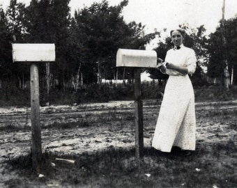 vintage photo 1915 Woman Getting Mail from Mailbox Rural