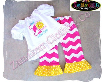Custom Boutique Clothing Toddler Baby Girl Chevron You Are My Sunshine Outfit Birthday Pant Set SIZE 2t 3t 4t 5t 6 7 8 12 18 24 9 MONTH t