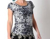 Grey floral tee, grey short sleeve top, womens tops, womens clothing, grey jersey top, grey floral top, MALAM size UK 12