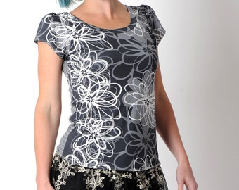 Grey floral tee, grey short sleeve top, womens tops, womens clothing, grey jersey top, grey floral top, MALAM size UK 12