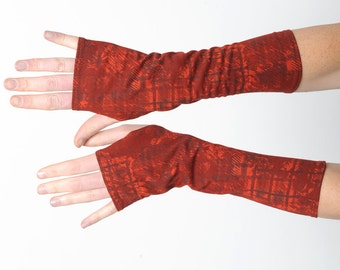 Red patterned armwarmers, Red womens fingerless gloves with plaid pattern, Long red wrist warmers, Gift for women, Womens accessories, MALAM