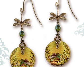 Poppy Dragonfly Earrings - Voyageur - Sage Poppy Dragonfly Art Nouveau Style 2 sided Glass dangle earrings - Nouveau Jardin Collection