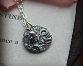 Victorian Charm Necklace with Pearl Drop - Vintage Imprint taken from actual 1800's Victorian Wedding Cuff - One of a Kind -  EP245