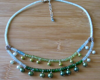 Exotic Double Collar Semiprecious and Precious Stone with Bali Silver Necklace