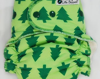 Cloth Diaper AI2 Made to Order - Christmas Diaper - Green Fir Trees - You Pick Size and Style - Christmas Gift for Baby - Christmas Trees