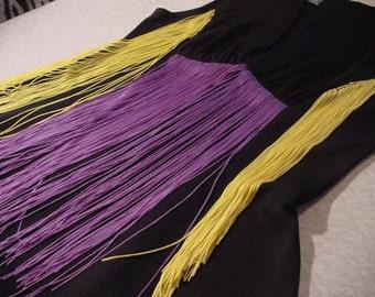 Vintage Black Dress sleeveless asymmetrical hemline contrasting long fringe altered couture | strega goth fusion