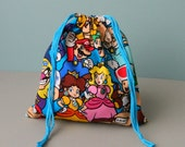 Nintendo Drawstring bag, Mario Bro favors bag, Koopa fabric bag, Donkey Kong organization fabric bag, Yoshi, Luigi, Princess Peach, NES Bag