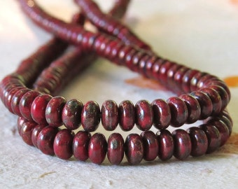 4mm Red Bronze Picasso Czech Glass Bead Rondelle Spacer : 100 pc Opaque Red 4mm Rondelle Beads