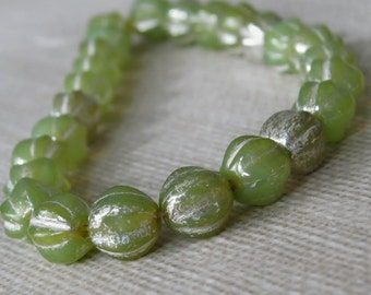 Lime Opal Mercury Czech Glass Bead 6mm Melon Round : 25 pc Fluted Green 6mm Bead
