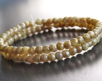 3mm Champagne Gold Picasso Czech Glass Bead Round Druk : 50 pc Full Strand Gold Druk
