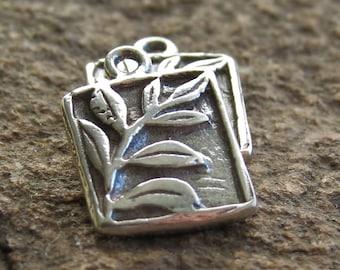 Fern Leaf Bali Sterling Silver Oxidized 11mm Charm : Vine Branch Pendant