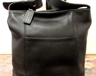 Coach Purse  Black Leather Bucket Shoulder Bag.Made in USA