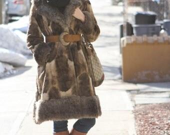 vintage 70s faux fur leopard full length animal print winter fur coat jacket