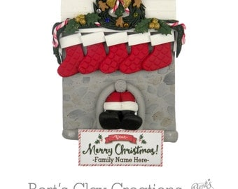 Family Fireplace Ornament - Comes with 2 stockings - You may order additional
