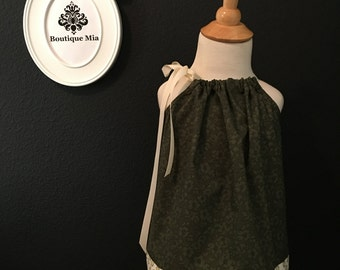 Will fit Size 12 month up to 6yr - Ready to MAIL - Pillowcase Dress or Top - Mod Retro - Army Green and Cream - by Boutique Mia