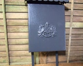 Old Mail Box Fun vintage metal  with  hinged door and hooks below Gray