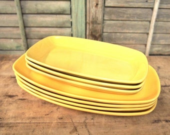 Frankoma Yellow  Vintage Pottery  dishes sunflower yellow Nice as-is Plate Dish