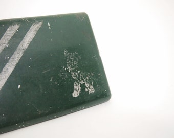 Free Shipping Scotty Terrier Dog Embossed Old metal cigarette Business Card Case Green