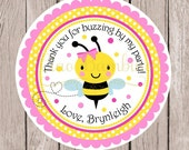 Pink Bumble Bee Birthday Party Favor Tags or Stickers / Personalized Pink and Yellow BeeDay Tags with Pink Bee / Set of 12 - 0032