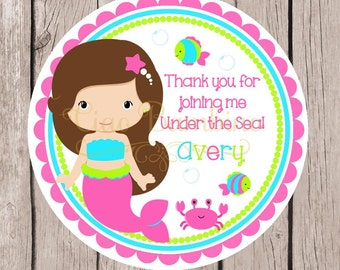Mermaid Birthday Party Favor Tags or Stickers / Personalized Mermaid Under the Sea Party Favor Tags / Choose Hair Color / Set of 12 - 0040
