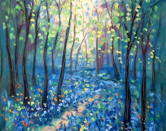 Oil painting  Abstract  18 x 24  Blue Bell Path - FREE SHIPPING in US