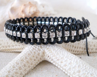 Glass Bead Jewelry - Leather and Chain Bracelet - Stackable Bracelet -  Chain Bracelet - Rhinestone Bracelet - Beaded Wrap Bracelet