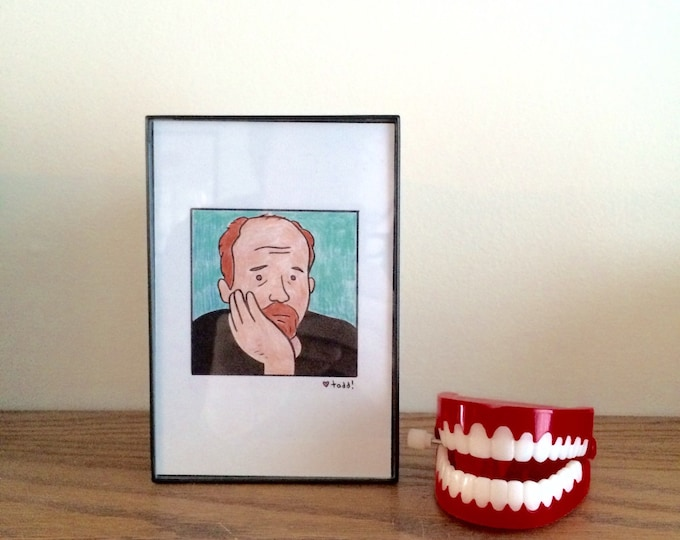 Louis CK, 4 x 6 inch Print, Crayon Drawing, Illustration, TV, Pop Culture, Wall Decor, Stand Up, Comedian, Comedy