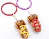Weiner Dachshund Puppy Keychains Pair of Mustard and Ketchup - Purple & Red Rings