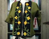 1970s green jacket 70s felt blouse size medium vintage appliqué top wool floral