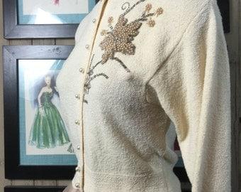 1950s sweater beaded cardigan 50s cream sweater size medium Vintage cardigan kimberly knitwear sweater girl