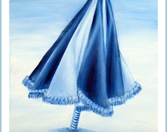 Blue Umbrella - 16 x 20 original acrylic painting, beach, sea, ocean, minimalist, nature, still life