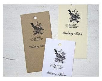 50 Wedding Wish Tree Tags, Wishing Cards, Vintage Bird, Wish Tags, W001