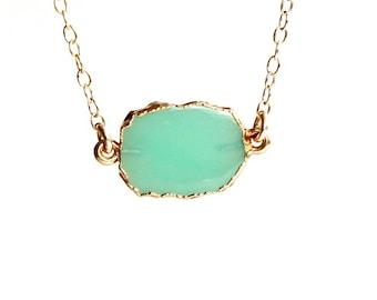 Chrysoprase Slab Pendant/14K Gold Filled Chain/Chrysoprase Slice Necklace/Elegant Jewelry/Minimalist Design