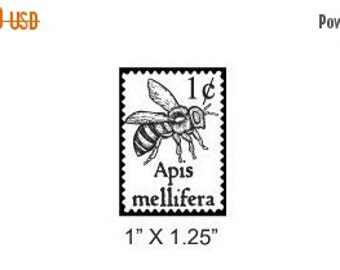 Xmas in July Bee Faux Postage Stamp Mail Art Rubber Stamp 170