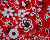 VINTAGE red hibiscus Hawaiian cotton fabric