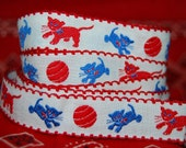 VINTAGE cotton cat kitten border trim embroidery red white and blue