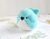 Aqua Blue Fleece Bird Handmade Stuffed Animal Turquoise Plush Bird Bluebird Stuffed Animal