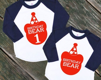 Birthday Bear Baby Navy Blue Raglan Sleeve Baseball TShirt with Red Print - Infant and Kids Sizes - First Birthday Party Gift