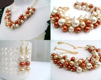 Orange Jewelry Set, Burnt Orange Ivory Champagne Gold, Pearl Necklace Bracelet and Earrings, Cluster Jewelry, Wedding Sets, Bridesmaids Gift