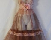 Valentines Sale Tulle tea dress lace tea stained pink romantic boho  rose custom   by vintage opulence on Etsy