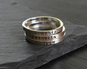 Tiny Sterling Silver Stacking Name Ring; Personalized Mother's Ring- Smooth