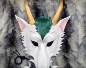 RESERVED for Rebecca...Haku mask...handmade leather dragon mask