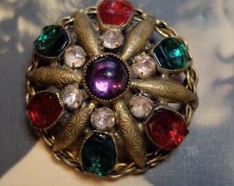 Antique Brooch Pin Glass Gem Bezel Set