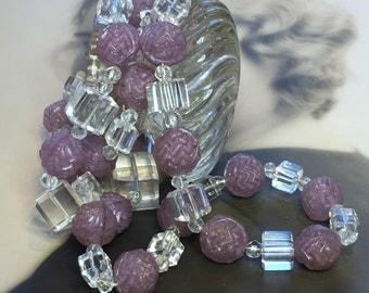 Antique Deco Necklace Czech Glass Beads Square Cubes Deco