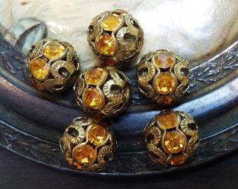6 Vintage Filigree Ball Bead Findings Rhinestones Yellow Topaz