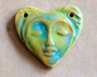 Sweet Ceramic Bead - Face in a  Heart 2 holed link Bead - Green Stoneware Serene Goddess Bead