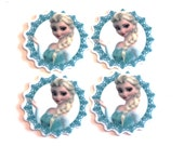 Set of 4 Princess Frozen Elsa resin hair bow craft center planar resin Cabochons