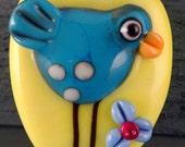 Bird Bead...Bright Yellow, Turquoise, Glass Focal Art Lampwork Bead  Handmade by Laurie Geller..SRA
